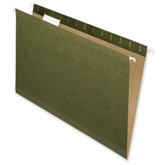 "Nature Saver Hanging File Folder - Legal - 8.50"" x 14"" Sheet Size - 1/5 Tab Cut - Poly - Standard Green - Recycled - 25 / Box"
