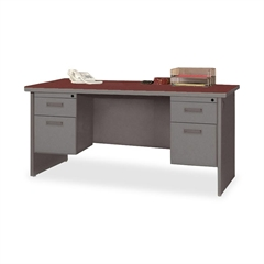 "Lorell Durable Double Pedestal Desk - 60"" x 30"" - 4 x Box Drawer(s), File Drawer(s) - Double Pedestal - Radius Edge - Material: Steel - Finish: Charcoal, Laminate, Mahogany"