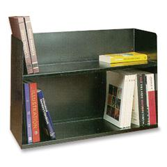 "Buddy Two Tier Book Rack - 2 Tier(s) - 20"" Height x 30.1"" Width x 10.5"" Depth - Desktop - Black - Metal - 1Each"