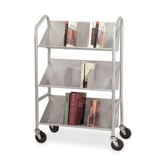"Buddy Sloped Shelf Book Cart with Dividers - 3 Shelf - 4 Casters - 4"" Caster Size - Steel - 26"" Width x 16"" Depth x 41.5"" Height - Silver"