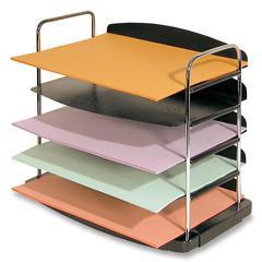"Buddy Horizontal Desk Tray - 5 Pocket(s) - 11.3"" Height x 12"" Width x 8.5"" Depth - Desktop - Black - Steel, Plastic - 1Each"