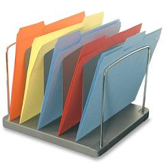 "Buddy Horizontal Desk Tray - 5 Pocket(s) - 11.3"" Height x 12"" Width x 8.5"" Depth - Desktop - Charcoal - Steel, Plastic - 1Each"