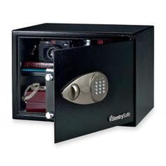 "Sentry Safe Security Safe - 1.20 ft³ - Electronic, Key Lock - 2 Live-locking Bolt(s) - Internal Size 10.50"" x 16.75"" x 12.63"" - Overall Size 10.6"" x 17"" x 14.8"" - Black - Steel"