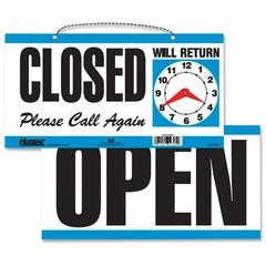 "Open/Closed Sign - 1 Each - Open, CLOSED, Please Call Again, Will Return Print/Message - 11.5"" Width x 6"" Height - Rectangular Shape - Customizable Time - White, Blue"