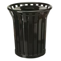 "Rubbermaid Commercial Americana Steel Waste Receptacle - 36 gal Capacity - 32.5"" Height x 29"" Diameter - Black"