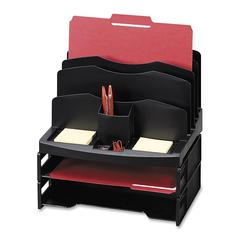 """Smart Solutions Organizer with Two Letter Tray - 9 Compartment(s) - 14"""" Height x 13.1"""" Width x 9.9"""" Depth - Black - 1Each"""