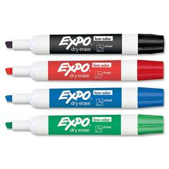 Expo Dry Erase Markers - Chisel Point Style - Green, Red, Blue, Black - 4 / Set