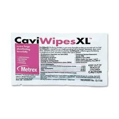 Metrex Caviwipes XL Disinfecting Towelettes - Wipe - 50 / Box - White