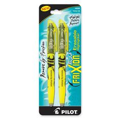 FriXion Highlighter - Chisel Point Style - Yellow - 2 / Pack