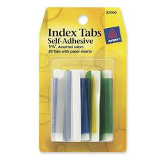 "Self-Adhesive Index Tab - 20 Tab(s)1.75"" Tab Width - Self-adhesive, Permanent - Blue, Red, Green, Yellow, Clear Tab(s) - 20 / Pack"