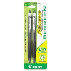 RexGrip Ballpoint Pen - Medium Point Type - 1 mm Point Size - Refillable - Black - 2 / Pack