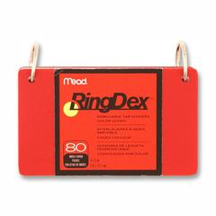 "RingDex Index Card - 5"" Divider Width x 3"" Divider Length - 2 Hole Punched - Red, Blue, Black, Clear Divider - 1 / Pack"