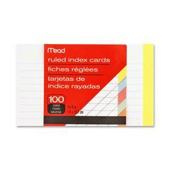 "Mead Ruled Assorted Color Index Cards - 100 Sheets - 3"" x 5"" - Buff, Blue, Orange, Cherry, Green Paper - 1 / Pack"