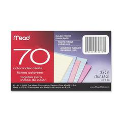 "Mead Double Ruled Index Card - 70 Sheets - Printed - 3"" x 5"" - Assorted Paper - 70 / Pack"
