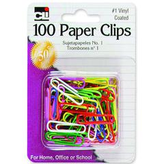 CLI Vinyl Coated Paper Clips - 100 Pack - Assorted - Vinyl