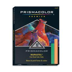"Prismacolor NuPastel Color Sticks - 3.6"" Length - Sap Green, White, Iron Blue, Hookers Green, Black, Dark Cadmium Yellow, Ultramarine, Pale Vermillion, Sepia, Carnival Red, Sanguine, ... - 12 / Set"