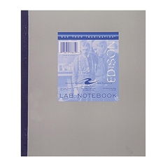 "Roaring Spring Edison Quad Ruled Lab Notebook - 100 Sheets - Printed - Tape Bound - 15 lb Basis Weight - 9.25"" x 11"" - Gray Paper - Heavyweight, Perforated, Bond Paper - 1Each"
