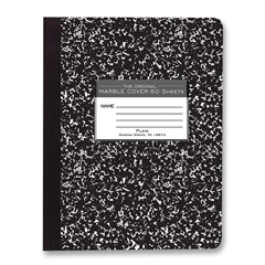 "Roaring Spring Composition Book - 50 Sheets - Plain - Sewn/Tapebound - 15 lb Basis Weight 7.50"" x 9.75"" - Black Cover Marble - 1Each"