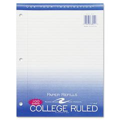 "Roaring Spring 3-Hole College Ruled Filler Paper - 100 Sheets - Printed - 15 lb Basis Weight - 8.50"" x 11"" - White Paper - 100 / Pack"