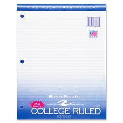 "Roaring Spring 3-Hole College Ruled Filler Paper - 150 Sheets - Printed - 15 lb Basis Weight - 8.50"" x 11"" - White Paper - 1 / Pack"