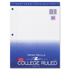 """Roaring Spring 3-Hole College Ruled Filler Paper - 200 Sheets - Printed - 15 lb Basis Weight - 8.50"""" x 11"""" - White Paper - 200 / Pack"""