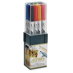 Marvy Artwin Double Ended Marker - Fine, Medium Point Type - Point Point Style - Black, Red, Blue, Green, Yellow, Brown, Orange, Violet, Pink, Light Blue, Light Green, ... Water Based Ink - 12 / Set