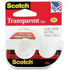 "Scotch Transparent Tape in a Dispenser - 0.75"" Width x 25 ft Length - 1"" Core - Non-yellowing, Glossy - Dispenser Included - Handheld Dispenser - 1 Roll - Clear"