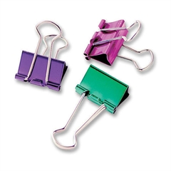 "Baumgartens Metallic Colored Binder Clip - Small - 0.8"" Width - 8 Pack - Assorted - Metal"