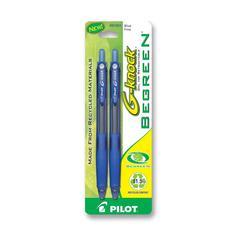 Pilot BeGreen G-Knock Gel Ink Pen - Fine Point Type - 0.7 mm Point Size - Refillable - Blue Gel-based Ink - Blue Barrel - 2 / Pack