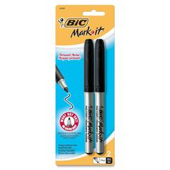 BIC Mark-it Grip Permanent Markers - Fine Point Type - Black - 2 / Pack