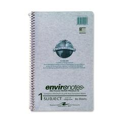 "Roaring Spring Environotes 1-Subject Wirebound Notebook - 80 Sheets - Printed - Wire Bound - 6"" x 9.50"" - Mist Gray Paper - Recycled - 1Each"