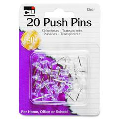 "CLI Push Pin - 0.50"" Head - 0.4"" Length - 20 Pack - Clear - Steel, Plastic"