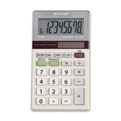 "Sharp Calculators EL244TB Dual-Power Pocket Calculator - Auto Power Off - 8 Digits - LCD - Battery/Solar Powered - 0.4"" x 2.4"" x 4.1"" - 1 Each"