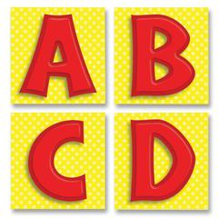 """Carson-Dellosa Quick Stick Bold Letters - Self-adhesive - Reusable - 3"""" Height x 3"""" Width - Red - 1 / Pack"""