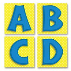 "Carson-Dellosa Quick Stick Bold Letters - Self-adhesive - Reusable - 3"" Height x 3"" Width - Blue - 1 / Pack"