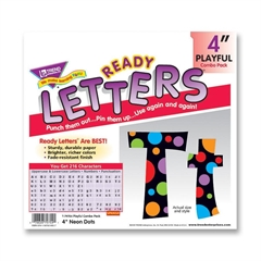 "Ready Letters with Neon Dots - 83 Lowercase Letters, 20 Numbers, 36 Punctuation Marks, 59 Uppercase Letters, 18 Spanish Accent Mark - Pin-up - 4"" Height - Assorted - 1 / Pack"