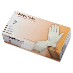 Non-Sterile Powdered Latex Exam Gloves - Medium Size - Latex - Beige - Powdered, Beaded Cuff, Non-sterile, Textured - For Medical - 100 / Box