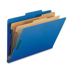 "Nature Saver 2-Div Legal Classification Folders - Legal - 8 1/2"" x 14"" Sheet Size - 2"" Fastener Capacity for Folder - 2 Divider(s) - 25 pt. Folder Thickness - Dark Blue - Recycled - 10 / Box"