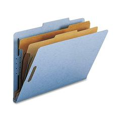 "Nature Saver 2-Div Legal Classification Folders - Legal - 8 1/2"" x 14"" Sheet Size - 2"" Fastener Capacity for Folder - 2 Divider(s) - 25 pt. Folder Thickness - Blue - Recycled - 10 / Box"