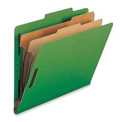 "Nature Saver 2-Div Legal Classification Folders - Legal - 8 1/2"" x 14"" Sheet Size - 2"" Fastener Capacity for Folder - 2 Divider(s) - 25 pt. Folder Thickness - Green - Recycled - 10 / Box"