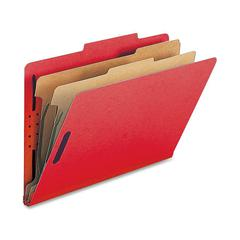 "Nature Saver 2-Div Legal Classification Folders - Legal - 8 1/2"" x 14"" Sheet Size - 2"" Fastener Capacity for Folder - 2 Divider(s) - 25 pt. Folder Thickness - Bright Red - Recycled - 10 / Box"