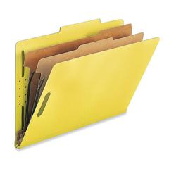 "Nature Saver 2-Div Legal Classification Folders - Legal - 8 1/2"" x 14"" Sheet Size - 2"" Fastener Capacity for Folder - 2 Divider(s) - 25 pt. Folder Thickness - Yellow - Recycled - 10 / Box"