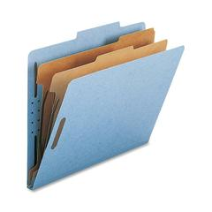 "Nature Saver 2-Divider Letter Classification Folders - Letter - 8 1/2"" x 11"" Sheet Size - 2"" Fastener Capacity for Folder - 2 Divider(s) - 25 pt. Folder Thickness - Blue - Recycled - 10 / Box"
