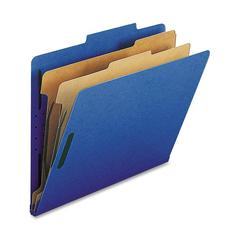 "Nature Saver Classification Folder - Letter - 8 1/2"" x 11"" Sheet Size - 2"" Fastener Capacity for Folder - 2 Divider(s) - 25 pt. Folder Thickness - Dark Blue - Recycled - 10 / Box"