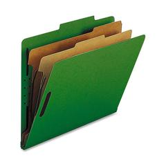 "Nature Saver 2-Dvdr Letter Classification Folders - Letter - 8 1/2"" x 11"" Sheet Size - 2"" Fastener Capacity for Folder - 2 Divider(s) - 25 pt. Folder Thickness - Green - Recycled - 10 / Box"