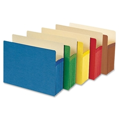 "Colored File Pockets - Letter - 8 1/2"" x 11"" Sheet Size - 5 1/4"" Expansion - Redrope - Assorted - Recycled - 5 / Pack"