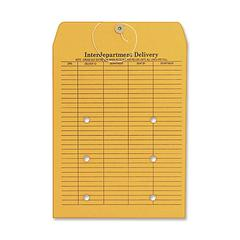 "Quality Park Two-Sided Interdepartmental Envelope - Interoffice - 10"" Width x 13"" Length - 32 lb - String/Button - Kraft - 100 / Box - Brown Kraft"
