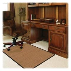 "Deflect-o Harbour Pointe Color Band Sisal Decorative Chairmat for Low-pile Carpet - 60"" Length x 46"" Width - Vinyl - Light Brown"