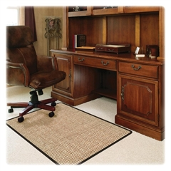 """Deflect-o Harbour Pointe Chunky Wool Jute Decorative Chairmat for Low-pile Carpet - 60"""" Length x 46"""" Width - Vinyl - Tan"""