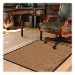 "Deflect-o Harbour Pointe Color Band Sisal Decorative Chairmat for Hard Floors - 60"" Length x 46"" Width - Vinyl - Light Brown"
